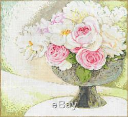 Needlepoint HandPainted Sandra Gilmore Flowers PRETTY with STITCH GUIDE 9x10
