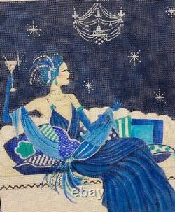 Needlepoint Handpainted Alice Peterson Lady in Blue Sofa 12x10