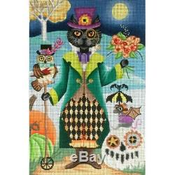 Needlepoint Handpainted Brenda Stofft Halloween Steampunk Cat 8x12