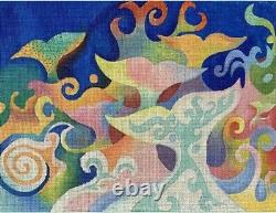 Needlepoint Handpainted Brenda Stofft Whale Dance 17x13