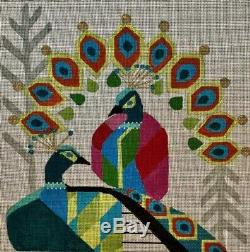 Needlepoint Handpainted CHRISTMAS Melissa Prince Peacocks Abstract 10