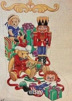 Needlepoint Handpainted Christmas STOCKING Toys Raggedy Bears Soldier 24 diag