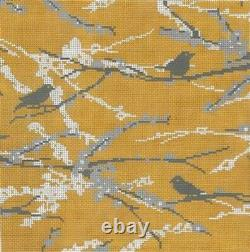 Needlepoint Handpainted Cooper Oaks Sparrows Vintage Yellow 10x10