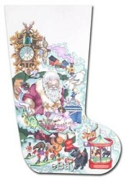 Needlepoint Handpainted EDIE & GINGER Christmas Stocking Dreaming Santa 20
