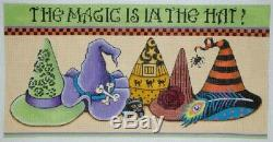 Needlepoint Handpainted HALLOWEEN Share Ones Ideas Witchs Hats 16x8