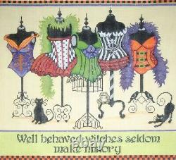 Needlepoint Handpainted Halloween Witchs Corsets Share Ones 15x15
