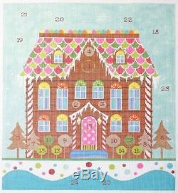 Needlepoint Handpainted KELLY CLARK Christmas Advent Gingerbread House FULL SET