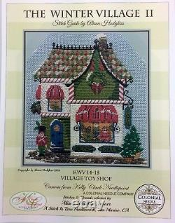Needlepoint Handpainted KELLY CLARK Christmas Village Toy Shop with Stitch Guide