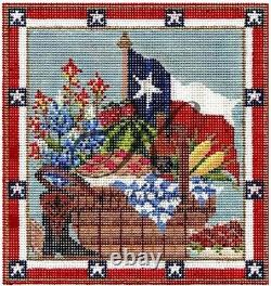 Needlepoint Handpainted KELLY CLARK Texas Picnic Basket withSTITCH Guide