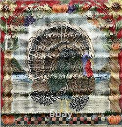 Needlepoint Handpainted Kelly Clark Thanksgiving Tom Turkey withStitch Guide