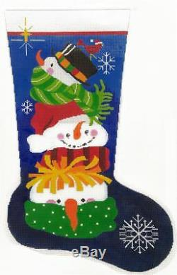 Needlepoint Handpainted LEE Christmas STOCKING Snowfaces 23