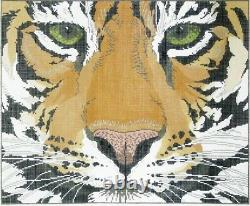 Needlepoint Handpainted LEE Tiger Face Pillow 18x15