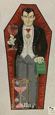 Needlepoint Handpainted Labors of Love HALLOWEEN Dracula in Coffin 15x7