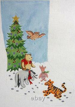 Needlepoint Handpainted Winnie Pooh and Friends Christmas Stocking Silver Needle