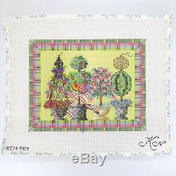 Needlepoint Kit Summer Topiaries Hand Painted Canvas Stitch Guide and Threads