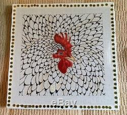 No Name Chicken Rooster Large Handpainted Needlepoint Canvas