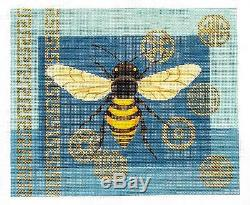 Oriental Blue & Gold Bee & Coins handpainted 13 mesh Needlepoint Canvas by JP
