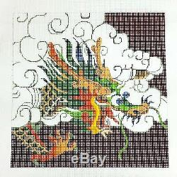 Oriental Dragon on Burgundy handpainted Needlepoint Canvas Large Design by LEE