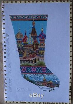 PETER ASHE handpainted mother russia cathedral stocking NEEDLEPOINT canvas signd