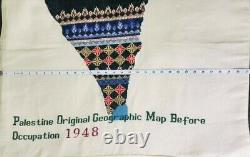 Palestine Embroidered Map Hand Made100%Original Geographic Distribution in 1948