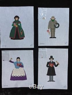 Pat Thode Set of 7 Hand-painted Needlepoint Canvases Caroler Series With SG