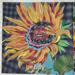 Patti Mann Hand painted needlepoint Canvas colorful modern Sunflower bloom arty