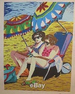 Patti Mann / Janet Fisher Two Girls on the Beach Handpainted Needlepoint Canvas