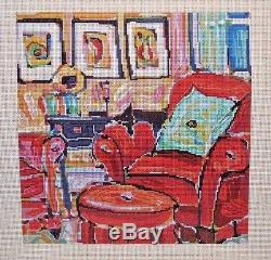 Patti Mann / Mike Savage Small Red Chair Handpainted Needlepoint Canvas