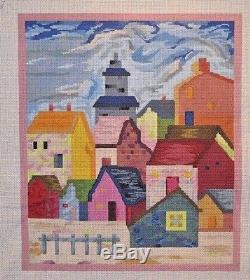 Patti Mann / Sharon Connoway Pastel Village Handpainted Needlepoint Canvas