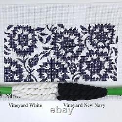 Patty Paints hand painted needlepoint canvas Blue and White Sunflowers 12 x 6