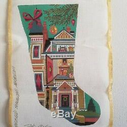 Peter Ashe Needlepoint Canvas Victorian Christmas Stocking'80 Hand Painted