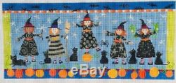 Pippin Design Needlepoint 5 Halloween Witches Hand Painted Needlepoint #13