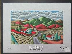 Purple Palm Winding Road Hand Painted Needlepoint Canvas SQ#291 Ret$216