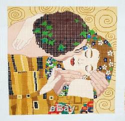 RARE Klimit THE KISS handpainted LARGE 14 by 14 Needlepoint Canvas by LEE