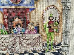 Rare Edie and Ginger Hand Painted needlepoint Canvas Medieval Dining Hall