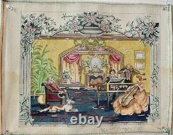 Rare Edie and Ginger Hand Painted needlepoint Canvas Victorian Music Room