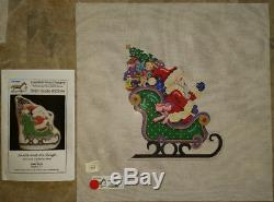 Rare Painted Pony Santa and his sleigh hand painted needlepoint canvas New