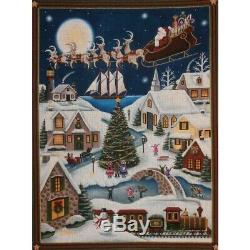Rebecca Wood Hand-painted Needlepoint Canvas Here Comes Santa