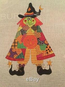 Renaissance Designs Patchwork Witch Handpainted Needlepoint Canvas