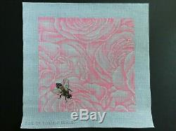 Rishfeld Designs Hand-painted Needlepoint Canvas Large Design/Pink Roses & Bee