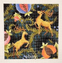 Royal Stags 10 Pillow Elegant handpainted Needlepoint Canvas by Abigail Cecile