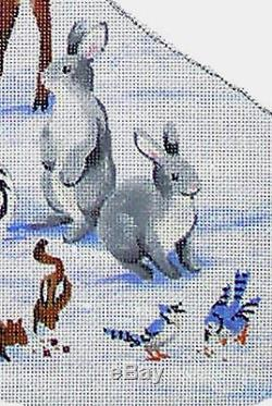SNOWMAN AND ANIMALS Christmas Stocking Hand Painted Needlepoint