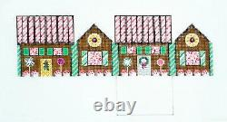 SO PEPPERMINT & DK. CHOC. Gingerbread House 3-D Needlepoint Ornament S. Roberts