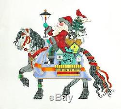 SO Santa Riding a Horse 18m handpainted Needlepoint Canvas by Brenda Stofft