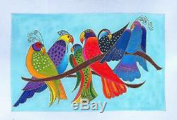SP. ORDER 6 Tropical Songbirds handpainted Needlepoint Canvas by Laurel Burch