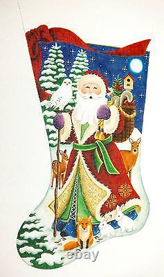 SP. ORDER Forest Santa LG. Stocking HP Needlepoint Canvas by Rebecca Wood