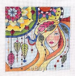 SP. ORDER Lady with Mandalas handpainted Needlepoint Canvas by Brenda Stofft