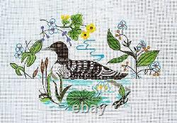 SP. ORDER Loon on Lake Brick Cover Door Stop HP Needlepoint Canvas S. Roberts