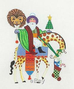 SP. ORDER Santa Riding a Giraffe handpainted Needlepoint Canvas by B. Stofft