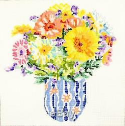 SP. ORDER Summer Bouquet #6 HP 14 Sq. 13m Needlepoint Canvas by Jean Smith